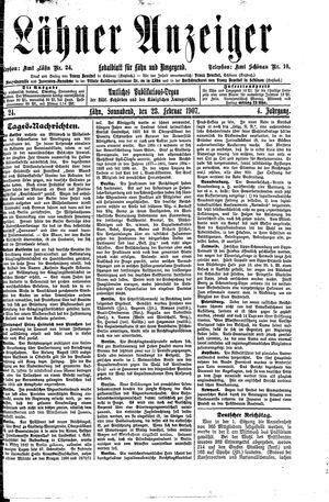 Lähner Anzeiger vom 23.02.1907