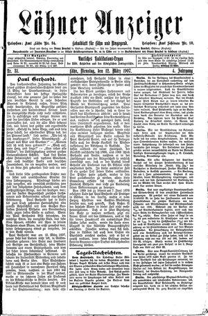 Lähner Anzeiger vom 12.03.1907