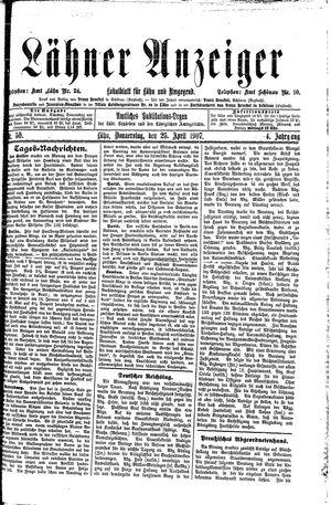 Lähner Anzeiger vom 25.04.1907
