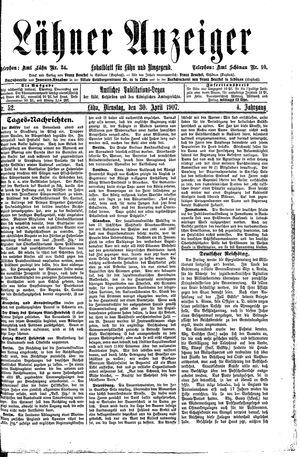 Lähner Anzeiger vom 30.04.1907