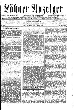 Lähner Anzeiger vom 07.05.1907