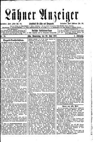 Lähner Anzeiger vom 20.06.1907