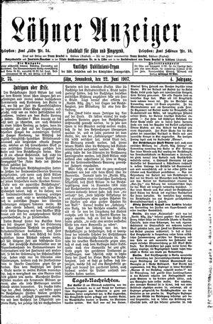 Lähner Anzeiger vom 22.06.1907