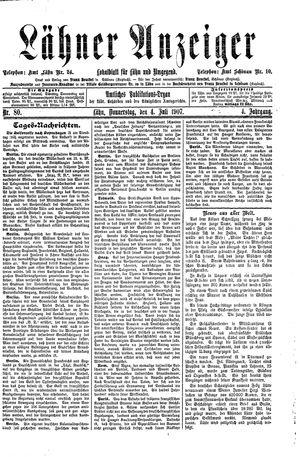 Lähner Anzeiger vom 04.07.1907