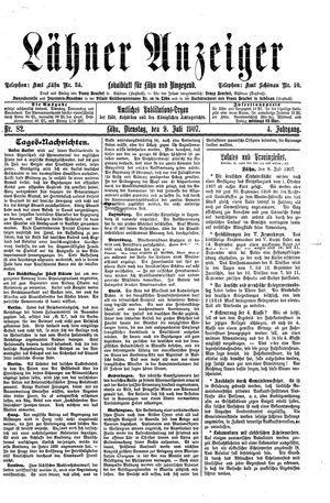 Lähner Anzeiger vom 09.07.1907