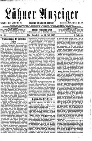 Lähner Anzeiger vom 13.07.1907