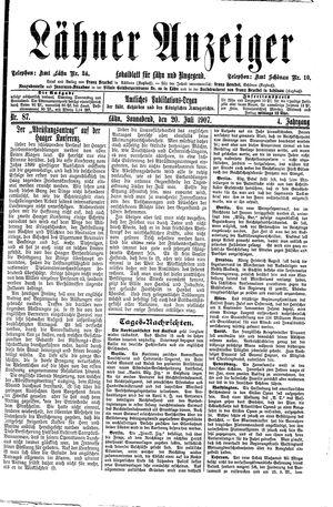 Lähner Anzeiger vom 20.07.1907