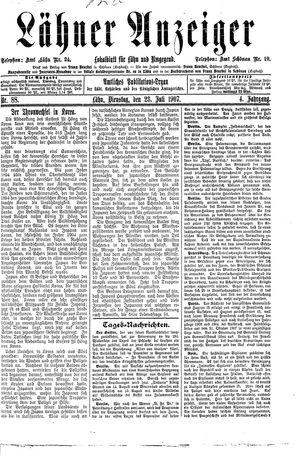 Lähner Anzeiger vom 23.07.1907