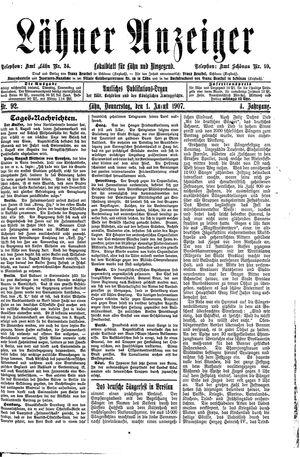 Lähner Anzeiger vom 01.08.1907