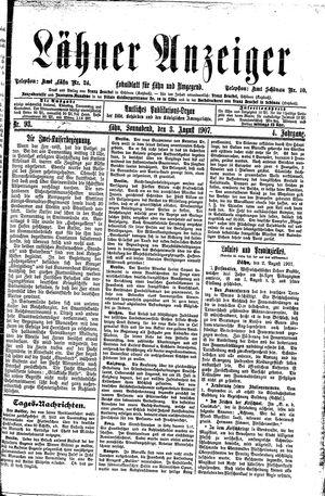 Lähner Anzeiger vom 03.08.1907