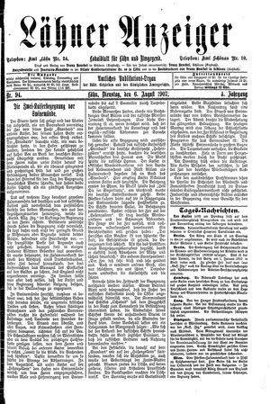 Lähner Anzeiger vom 06.08.1907