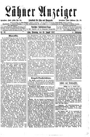 Lähner Anzeiger vom 13.08.1907