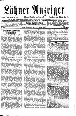 Lähner Anzeiger vom 17.08.1907