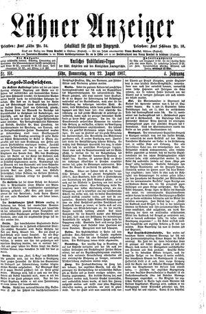 Lähner Anzeiger vom 22.08.1907