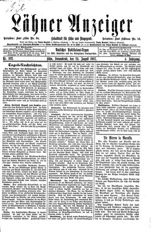 Lähner Anzeiger vom 24.08.1907