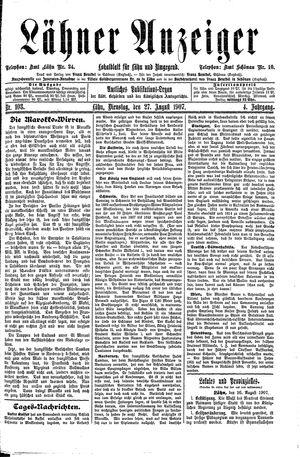 Lähner Anzeiger vom 27.08.1907