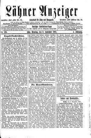 Lähner Anzeiger vom 03.09.1907