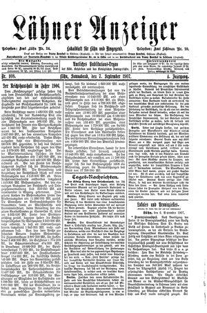 Lähner Anzeiger vom 07.09.1907