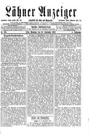 Lähner Anzeiger vom 10.09.1907