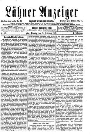 Lähner Anzeiger vom 17.09.1907