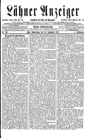 Lähner Anzeiger vom 19.09.1907
