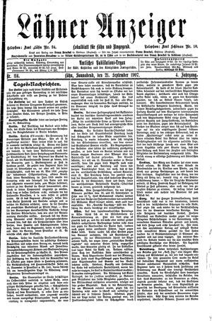 Lähner Anzeiger vom 21.09.1907