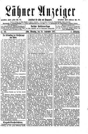 Lähner Anzeiger vom 24.09.1907