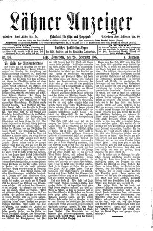 Lähner Anzeiger vom 26.09.1907