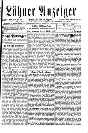 Lähner Anzeiger vom 05.10.1907