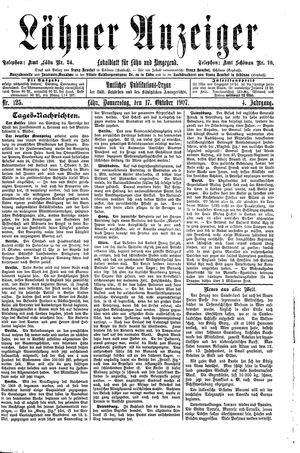 Lähner Anzeiger on Oct 17, 1907