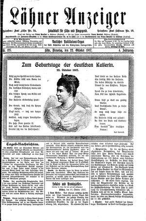 Lähner Anzeiger vom 22.10.1907