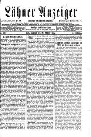 Lähner Anzeiger vom 29.10.1907