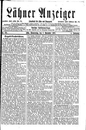 Lähner Anzeiger vom 07.11.1907