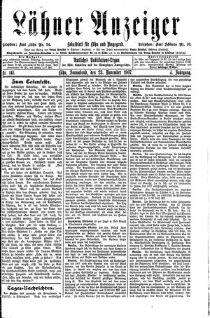 Lähner Anzeiger vom 23.11.1907