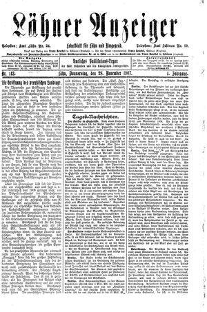 Lähner Anzeiger vom 28.11.1907