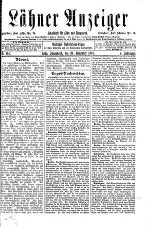 Lähner Anzeiger vom 30.11.1907