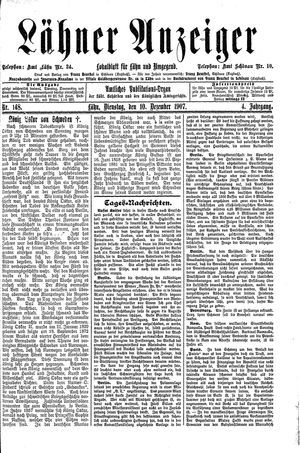 Lähner Anzeiger vom 10.12.1907