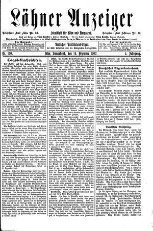 Lähner Anzeiger vom 14.12.1907