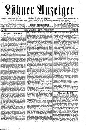 Lähner Anzeiger vom 21.12.1907