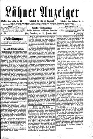 Lähner Anzeiger vom 28.12.1907