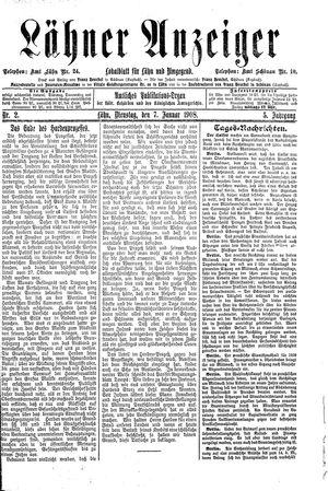 Lähner Anzeiger vom 07.01.1908