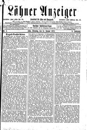 Lähner Anzeiger vom 14.01.1908