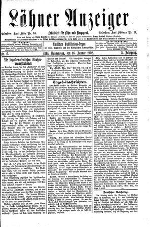 Lähner Anzeiger vom 16.01.1908