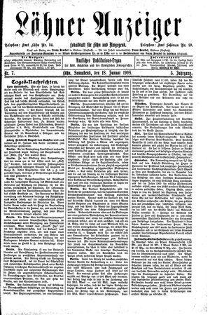Lähner Anzeiger vom 18.01.1908