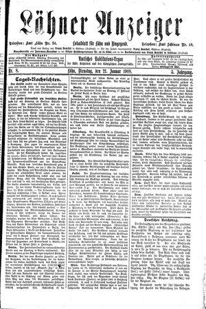 Lähner Anzeiger vom 21.01.1908
