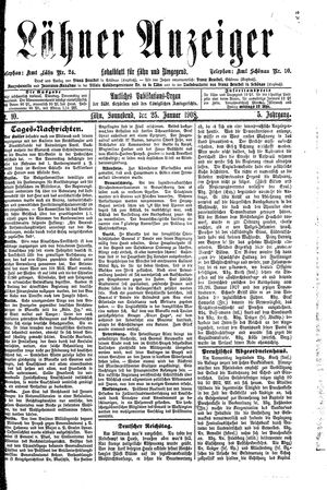 Lähner Anzeiger vom 25.01.1908