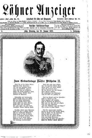 Lähner Anzeiger vom 28.01.1908