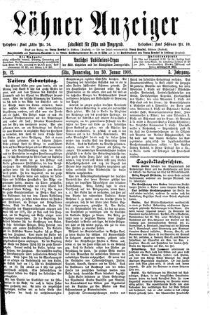 Lähner Anzeiger vom 30.01.1908