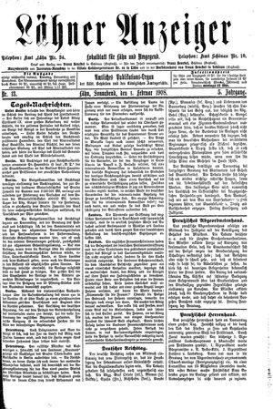 Lähner Anzeiger vom 01.02.1908