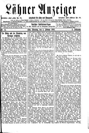 Lähner Anzeiger vom 04.02.1908